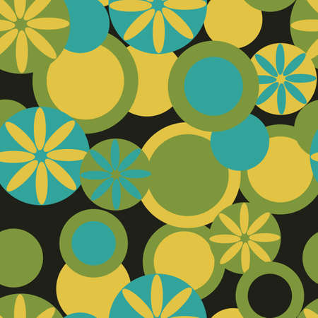 Abstract textile seamless pattern of green and blue colors on a black background Vector