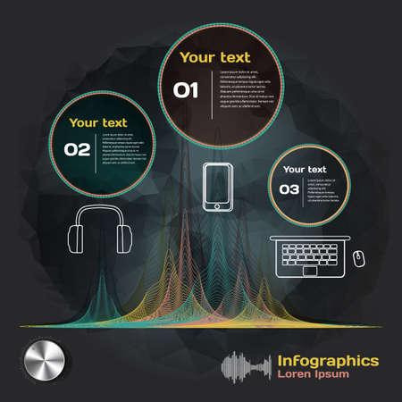 and sound: Infograf�a con ondas de sonido y dispositivos en un fondo oscuro