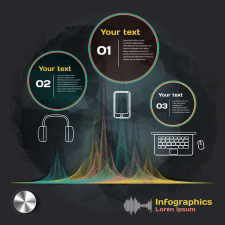 voice: infographics with sound waves and devices on a dark background