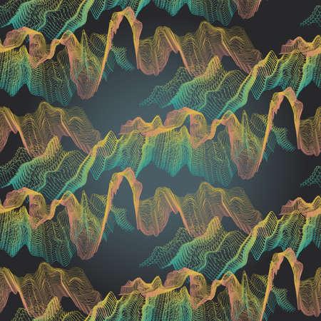 Abstrakte nahtlose Dunkel-Muster von Radiowellen