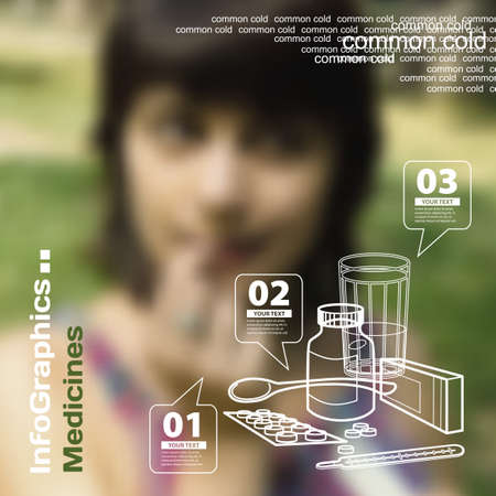 colds: Infographics with blurry photographic background on the topic of drugs, pills and cold Illustration