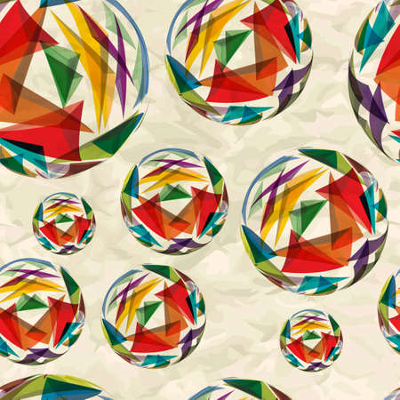 crumpled paper ball: Textile seamless pattern of bulk balls with texture triangles on crumpled paper Illustration