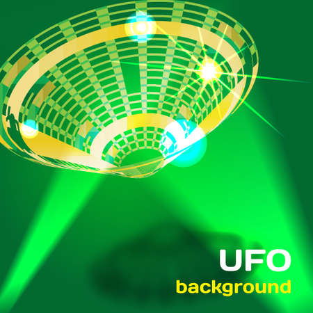 flying saucer: Background with a flying saucer UFO aliens with space for text Illustration