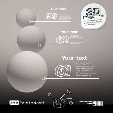 frosted: Infographics with frosted balls 3d black and white