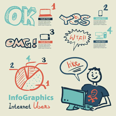 Infographics set in the style of a sketch of the global Internet users Vector