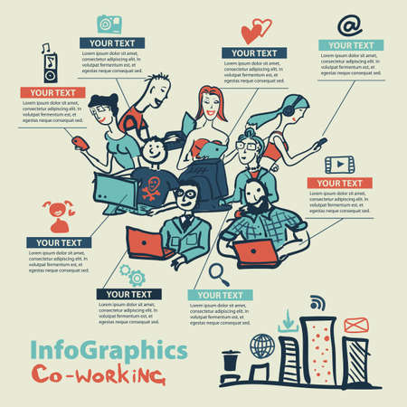 Infographics set in the style of a sketch of the global Internet users and coworking Illustration