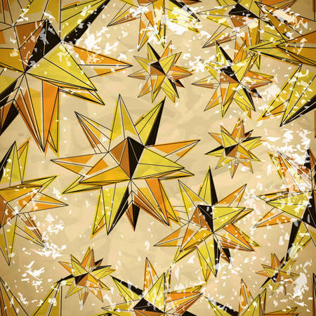 Seamless yellow pattern of triangles volume in vintage style with scuffed Vector