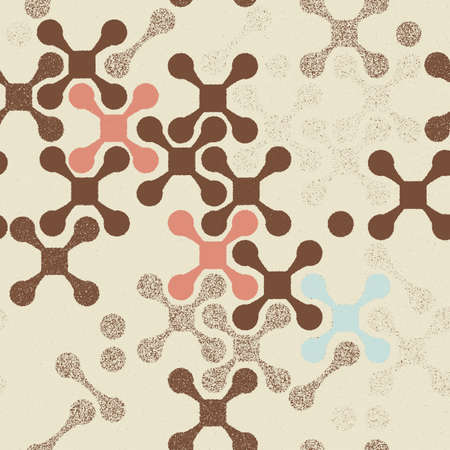 Abstract seamless pattern of crosses on a faded paper shabby vintage style Vector