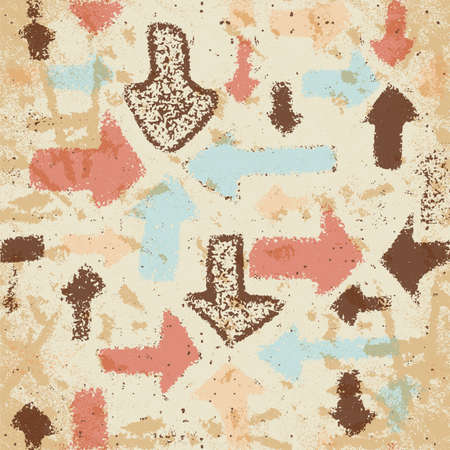 indices: Abstract seamless pattern of arrows on a faded paper shabby vintage style