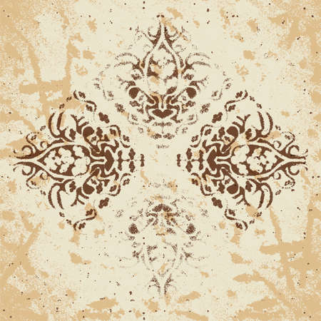 Abstract background of vintage heraldic figures on faded worn paper Vector