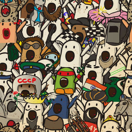 exclaiming: Textile seamless pattern of internet memes Nichosi