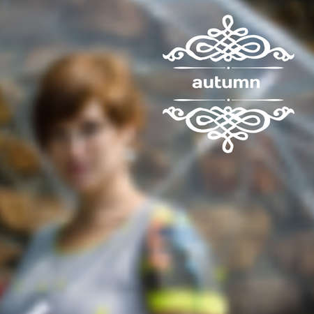 Set of infographics with blurry photographic background on the topic of fall and a woman with an umbrella Vector