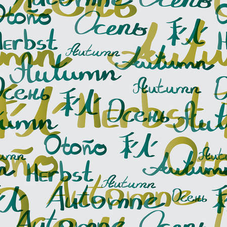 inscriptions: Seamless textile pattern of autumn inscriptions in different languages Illustration
