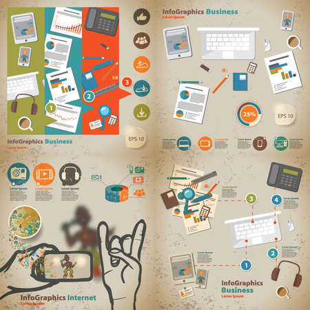 interface scheme: Set infographic on the topic of digital technology in vintage style Illustration