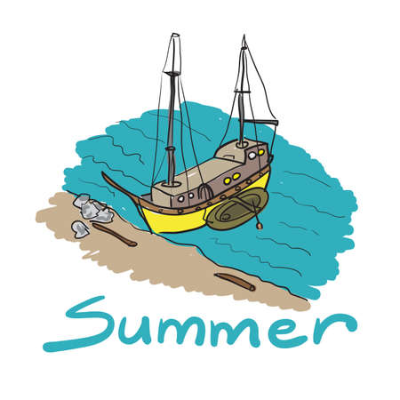 wave tourist: Color sketch of a boat and an inflatable boat moored on a sandy beach Illustration