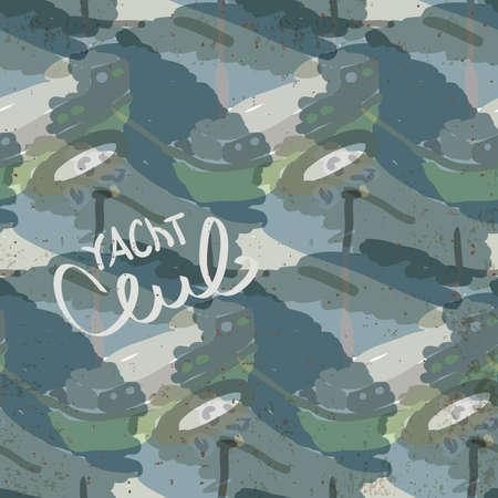 zeichnen: Zusammenfassung nahtlose Muster mit Yacht logo Yacht Club