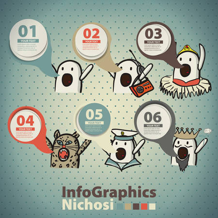 memes: Infographics set in the style of a sketch of the internet memes nichosi Illustration