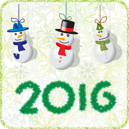 bonhomme de neige: Green Christmas card with snowmen 2016