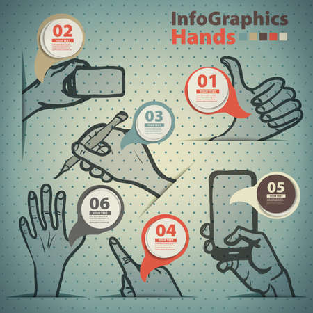 prevalence: Template infographic on the prevalence of hand gestures in vintage style