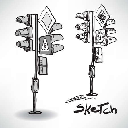 black light: Black and white sketch illustration of a traffic light with traffic signs
