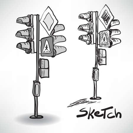 señales trafico: ilustración dibujo en blanco y negro de un semáforo con las señales de tráfico Vectores