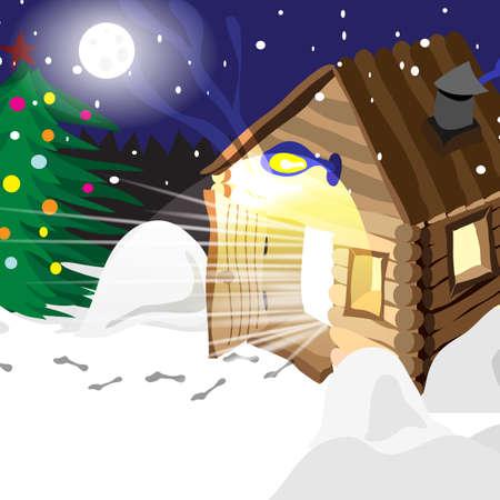 steam bath: Drawing hot baths Russian winter in Christmas night Illustration