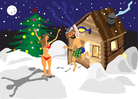 sauna: Drawing a man and a woman running away from the sauna on Christmas night in Russia