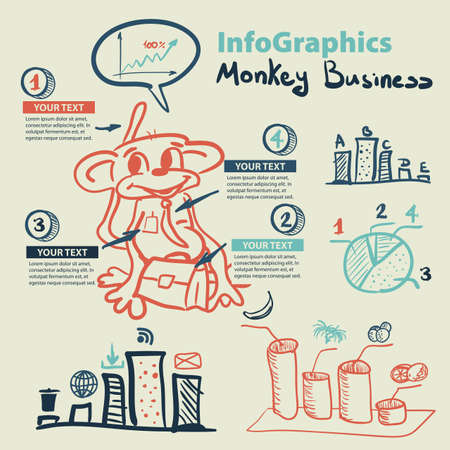 set of businessman: Infographics set in the style of a sketch of the funny monkey business Illustration