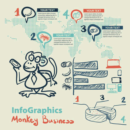 monkey suit: Infographics set in the style of a sketch of the funny monkey business Illustration
