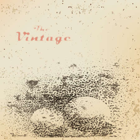 faded: Background ball with shadow engraved dots and spots on faded worn paper in vintage style