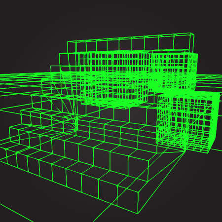 computer graphics: background with stairs in the style of an old green computer graphics Vectores