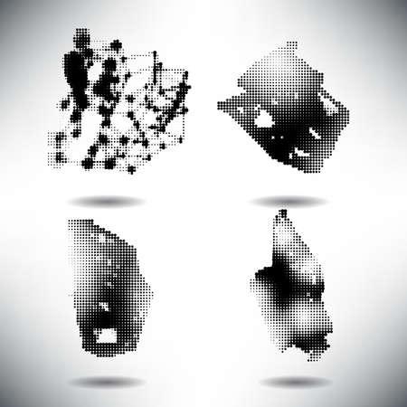 Set of elements of halftone dotted background dotwork Illustration