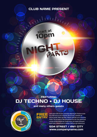 nightclub: Vector night party invitation techno style. Vector template graphic.