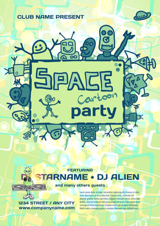 alien robot: Vector night party invitation. Vector template with cartoon alien graphic. Illustration