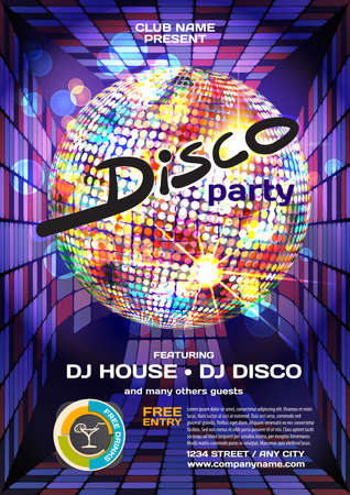 Vector night party invitation disco style. Vector template graphic.