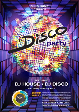 party dj: Vector de fiesta de la noche del estilo del disco invitación. Elementos para el diseño gráfico.
