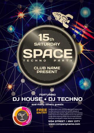 techno: Vector night party invitation space techno style.