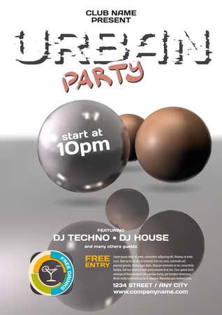 dubstep: Vector night party urban invitation. Illustration