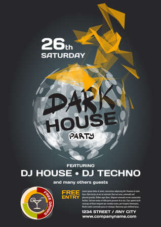 party night: Vector night party invitation dark house techno style. Vector template graphic. Illustration