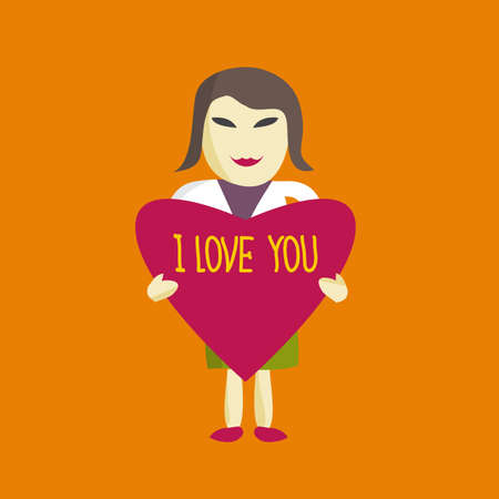 says: Businesswoman holding a heart that says I love you. Flat Style  Design