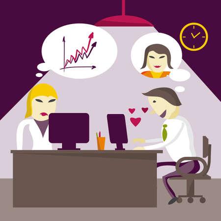 夕方事務所で職場でインターネットを通じて恋人と夢中になって男マネージャーが対応しています。フラットの図
