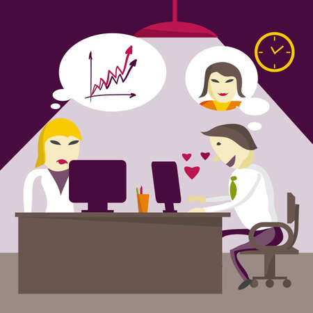 slacker: Infatuated man manager corresponds with sweetheart through the Internet in the workplace in the office in the evening. Flat illustration Illustration
