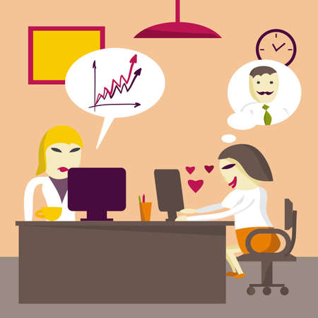 rigorous: Loving businesswoman rewritten with a man in the workplace. Flat isolated illustration