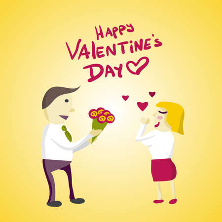 gives: Man Manager gives flowers woman on Valentines Day. Flat isolated illustration Illustration
