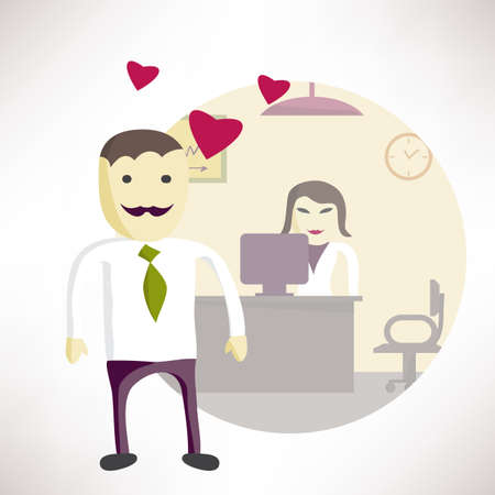 office romance: Man office manager in love with a woman in the office. Concept flat illustration