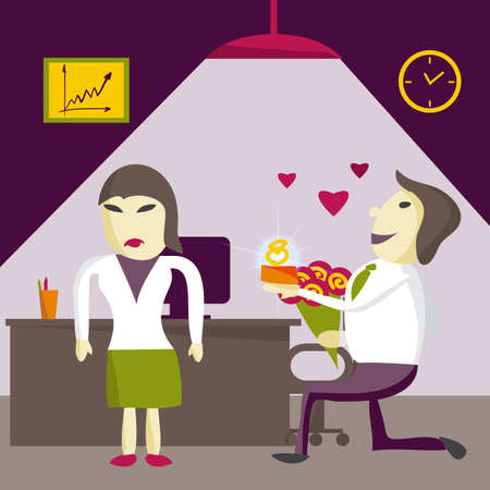 resentment: Man Manager offers a woman to marry him, but is denied on Valentines Day in the office. Flat isolated illustration