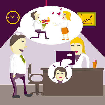 Love in office. Man manager dreams that a woman will marry him, and she wants to be a brunette in an office on Valentine's Day. Flat illustration