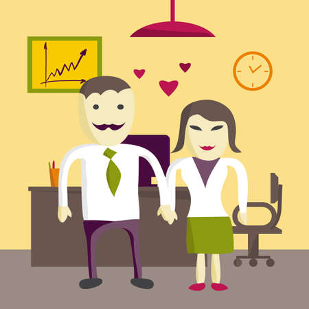 office romance: Love in office. Two office manager man and woman in love. Flat illustration Illustration