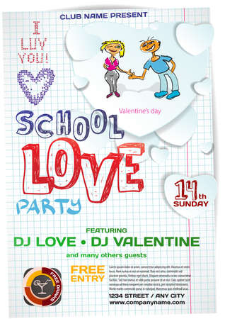 night school: Vector school night party valentines day. Template poster graphic