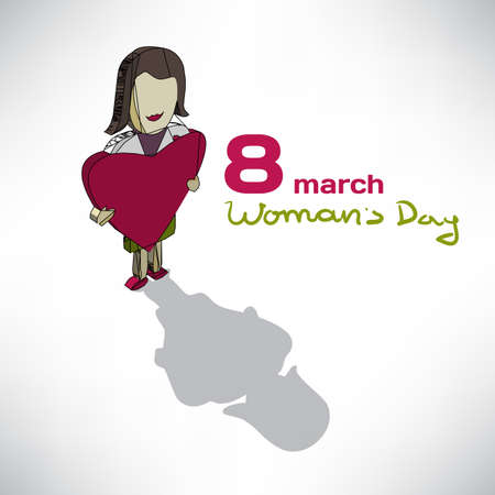 young womens: Womens Day greeting Card. Isometric ilustration young woman with heart